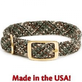 "Junior Dog Collar (Double-Braid I.D.)  9/16"" Wide 14"" Length, Camo and Oranage by Mendota"